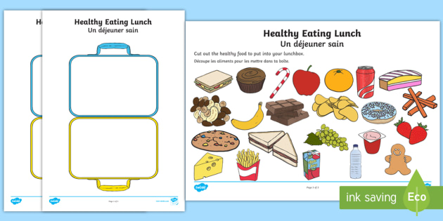 Healthy Eating Lunch Worksheet / Worksheet English/French.