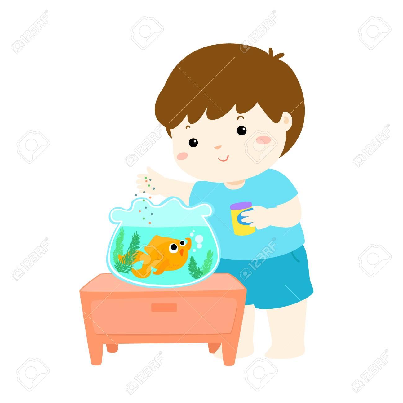 Illustration of cute little boy feeding fish in aquarium cartoon...
