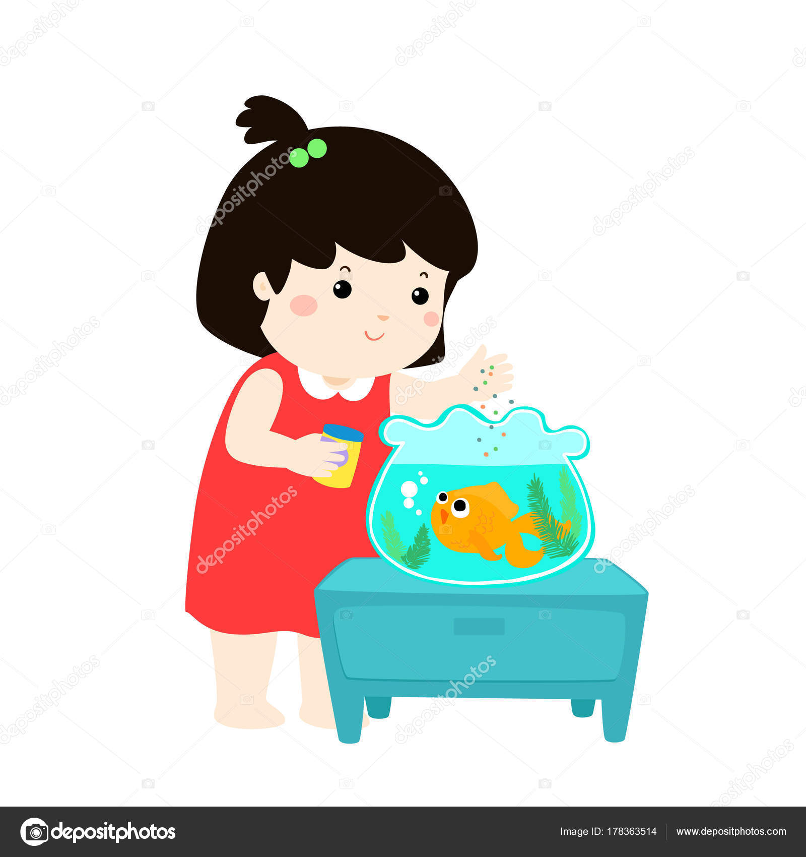 Ilustración de linda niña alimentando peces en acuario.