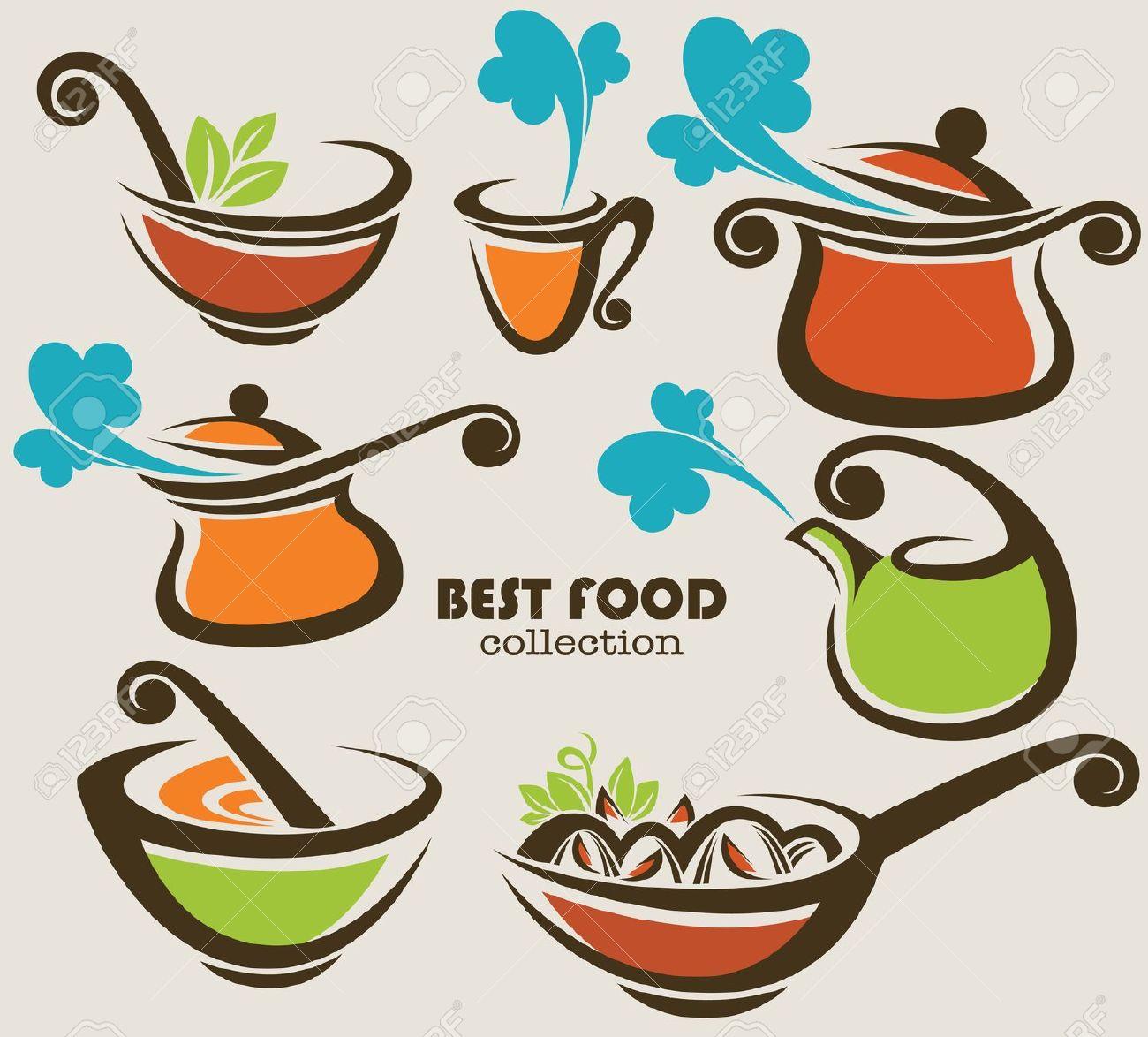 Raccolta Di Attrezzature Da Cucina E Simboli Alimentari Clipart.