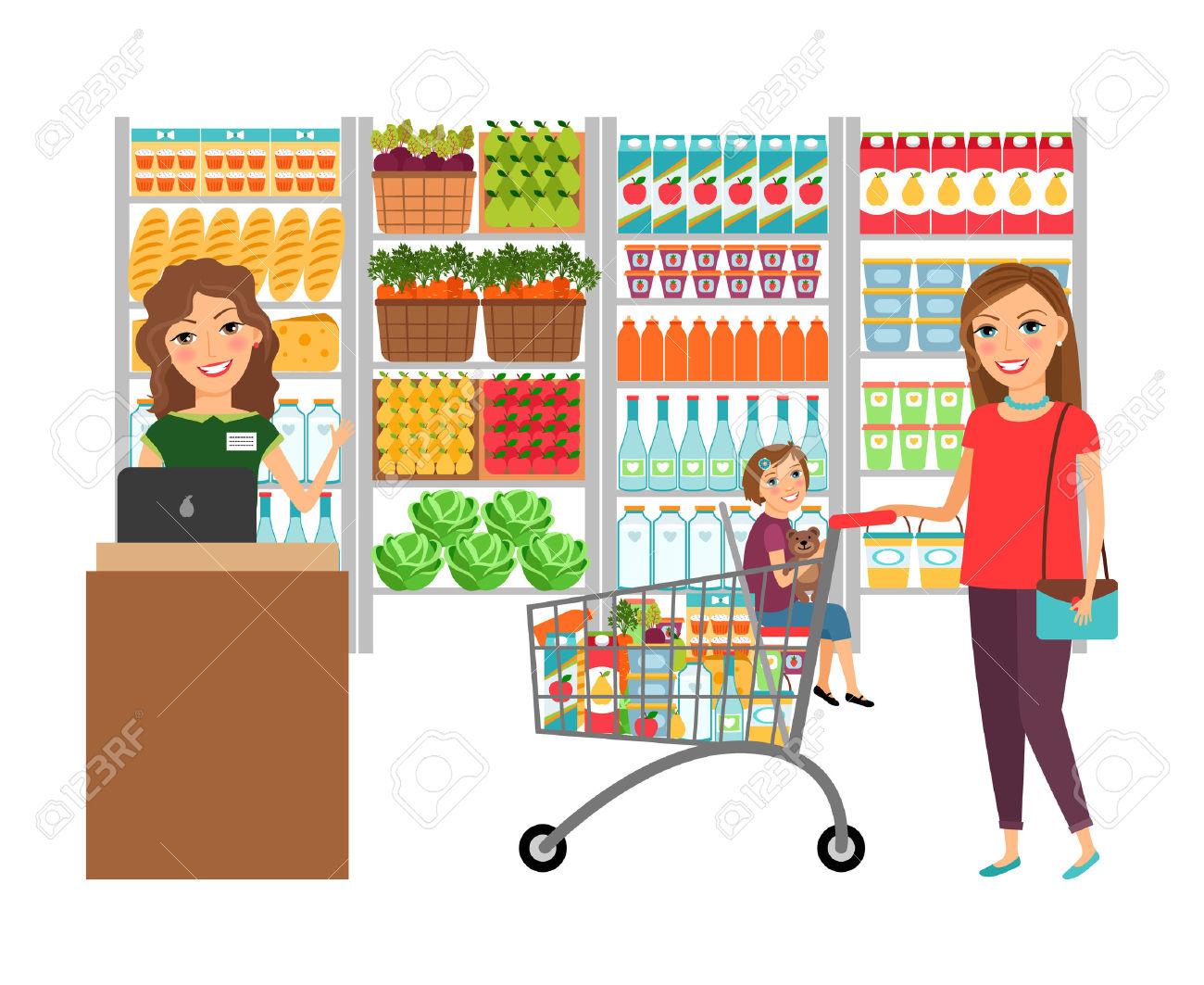 Woman Shopping In Negozio Di Alimentari Clipart Royalty.