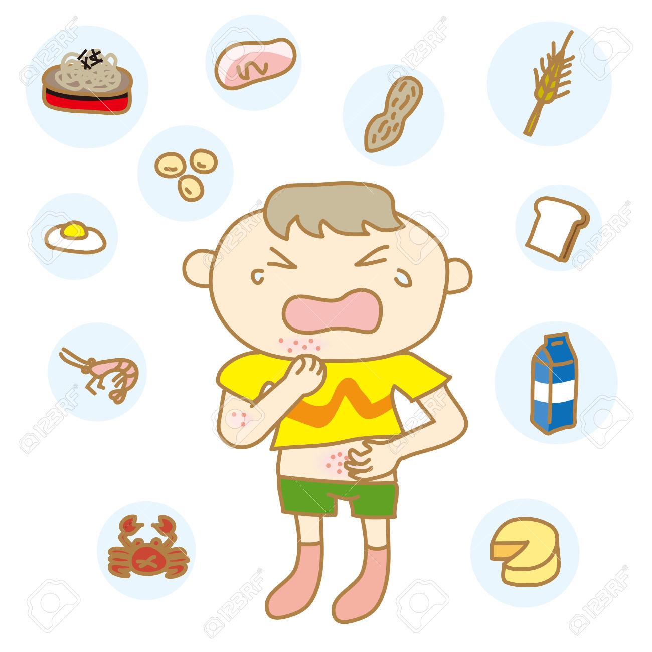 I Bambini Con Allergie Alimentari Clipart Royalty.