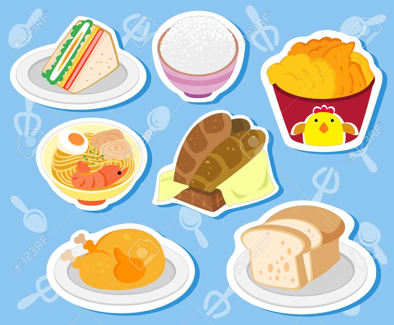 Sette Adesivi Alimentari Cute Con Pasta, Pollo, Panini, Toast.