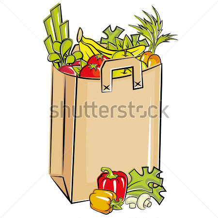 Full Grocery Bag Clipart.