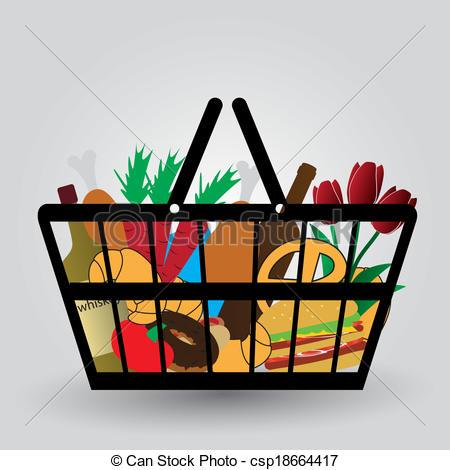 Clipart vettoriali di shopping, generi alimentari, eps10, carrello.