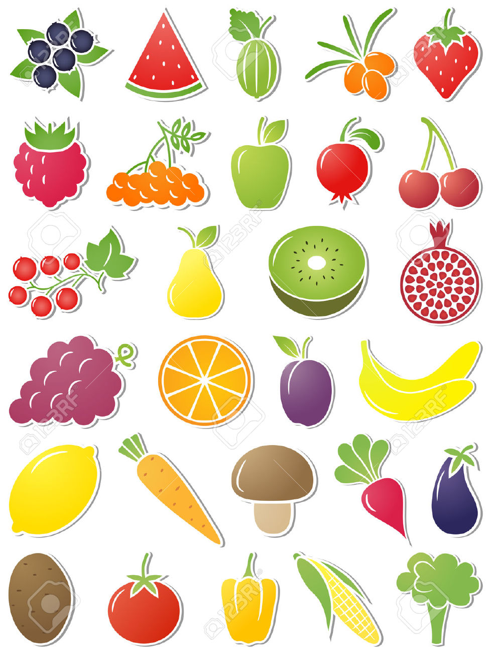 The Set Of Food Icons. Vector Illustration. Royalty Free Cliparts.
