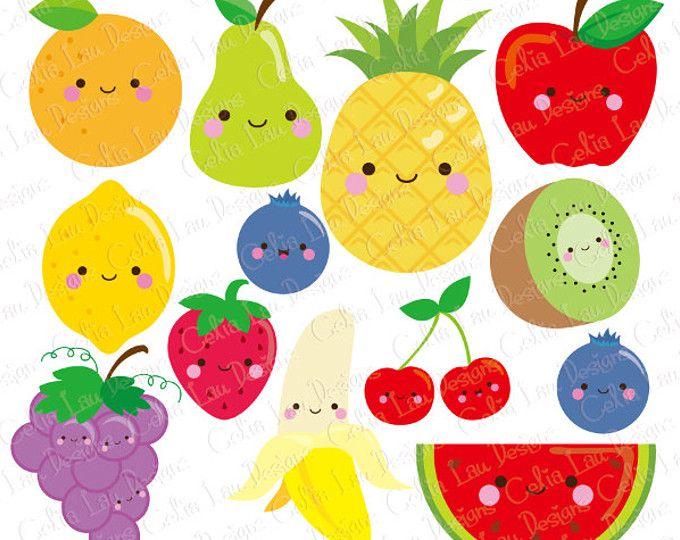 Kawaii frutas imágenes prediseñadas, Linda fruta Clip Art.