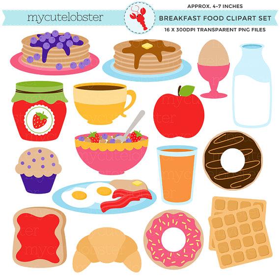 Breakfast Food Clipart Set.