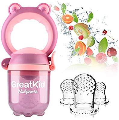 Alimentador de alimentos para bebés Alimentador de frutas Chupete Juguete  de dentición infantil incluido 3 Chupete de silicona mordedor.