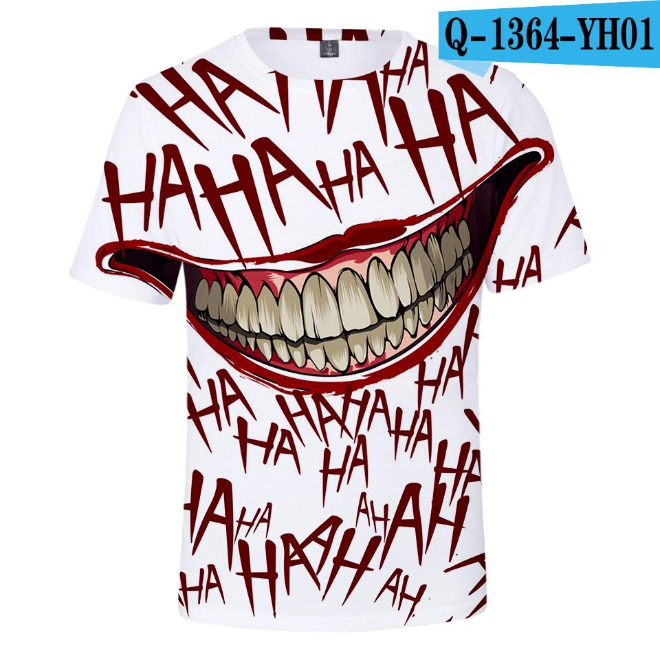 เสื้อยืดคอกลมแขนสั้นพิมพ์ลาย 3 D haha Joker สำหรับผู้ชาย.