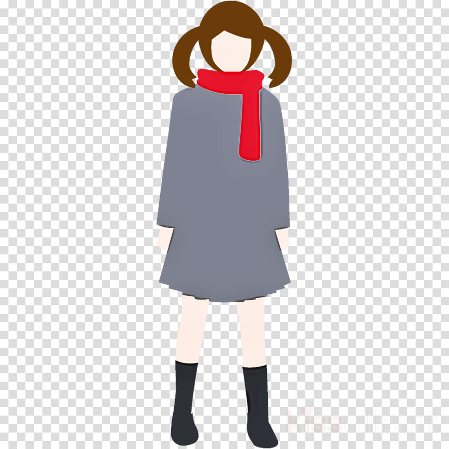 winter girl high school girl girl clipart.