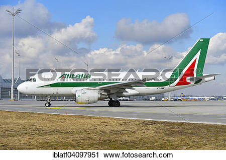 Stock Photography of Alitalia Airlines Airbus A 319, Munich.