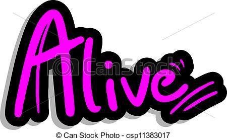 Vector Clip Art of Alive fashion sticker.
