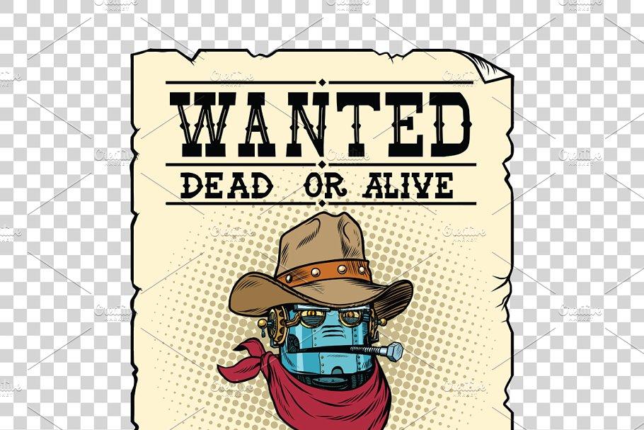 Steampunk robot cowboy wild West.