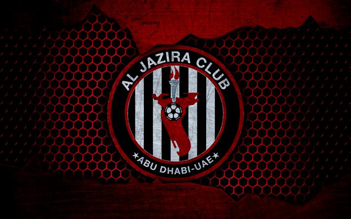 Download wallpapers Al Jazira, 4k, logo, UAE League, soccer.