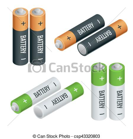 Vector Clipart of Battery electricity charge technology and.