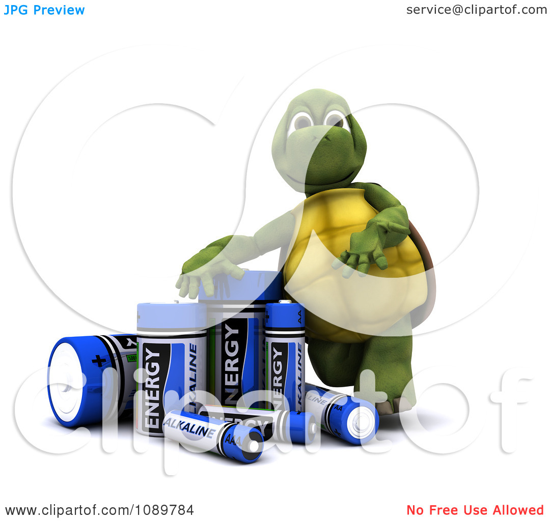 Clipart 3d Tortoise With Alkaline Batteries.