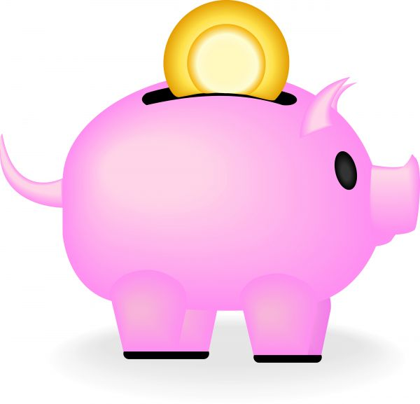 Vector image of a pink piggy bank with a coin going in.
