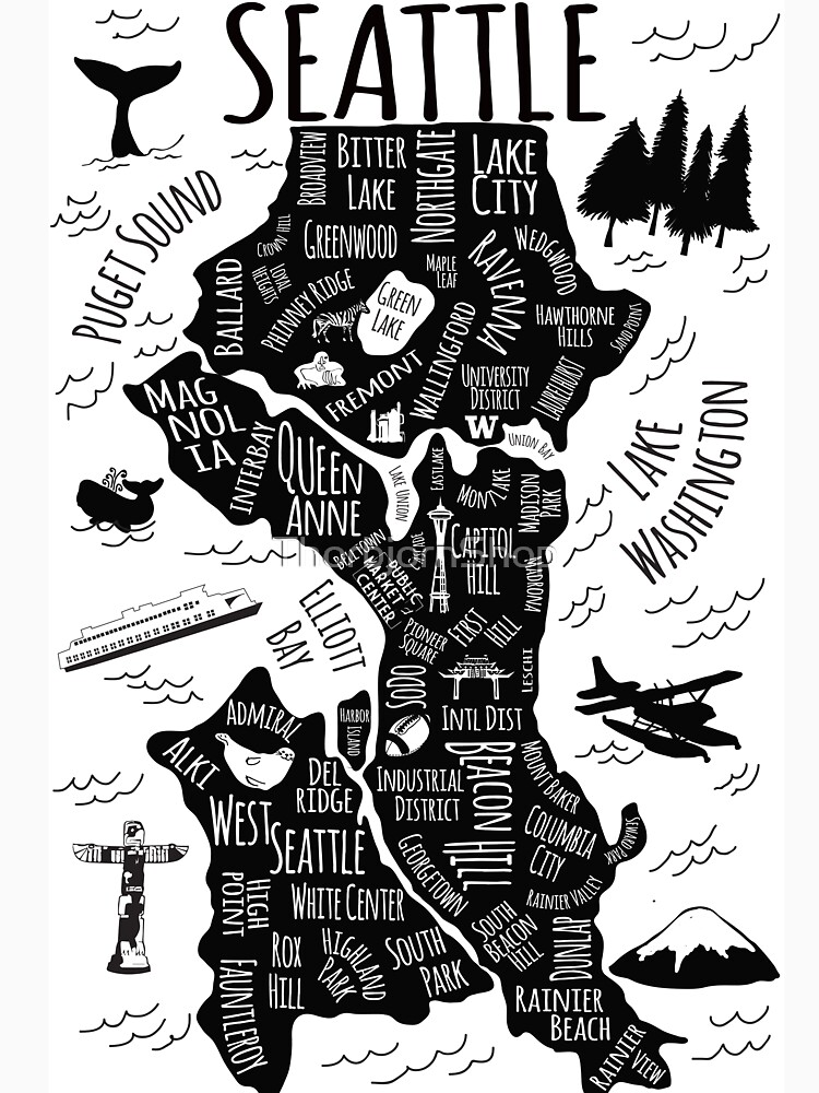 Seattle Illustrated Map in Black and White.