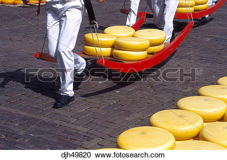 Stock Photography of Holland, Alkmaar, Cheese Market, Carrying.
