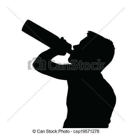 Vektoren Illustration von jugendlich, Junge, silhouette, alkohol.