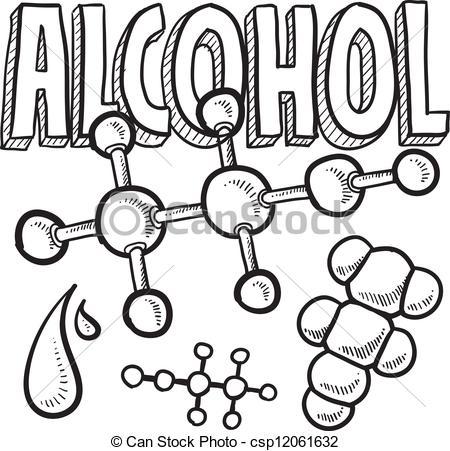 Vektoren von Skizze, molekül, alkohol.