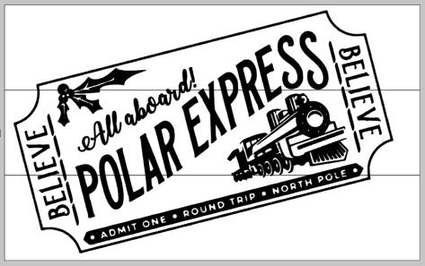 All aboard the Polar Express Ticket 10.5x17.