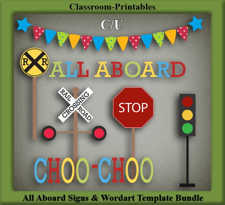 Clipart Templates for Scrapbooking. All Aboard Signs.