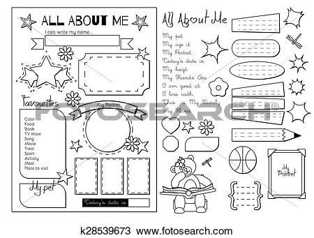 Clipart of All about me. School Printable k28539673.