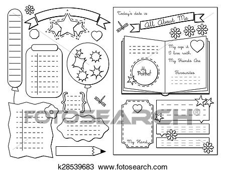 All about me. School Printable Clipart.