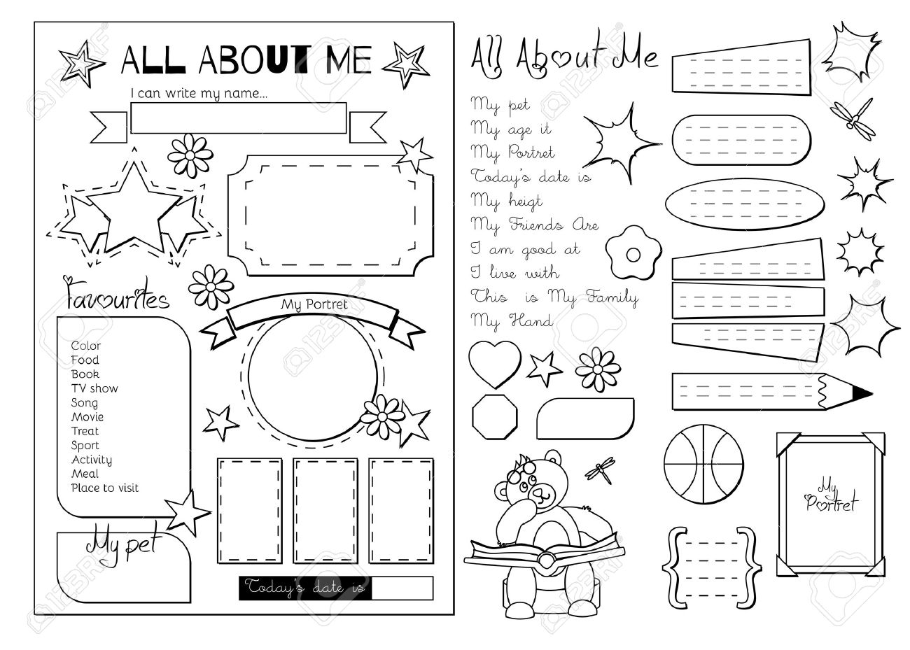 Back to School. All About Me questionnaire. Printable.