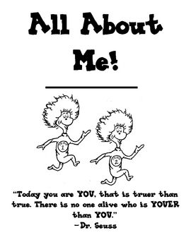 FREE All about Me Dr. Seuss themed book. Have students
