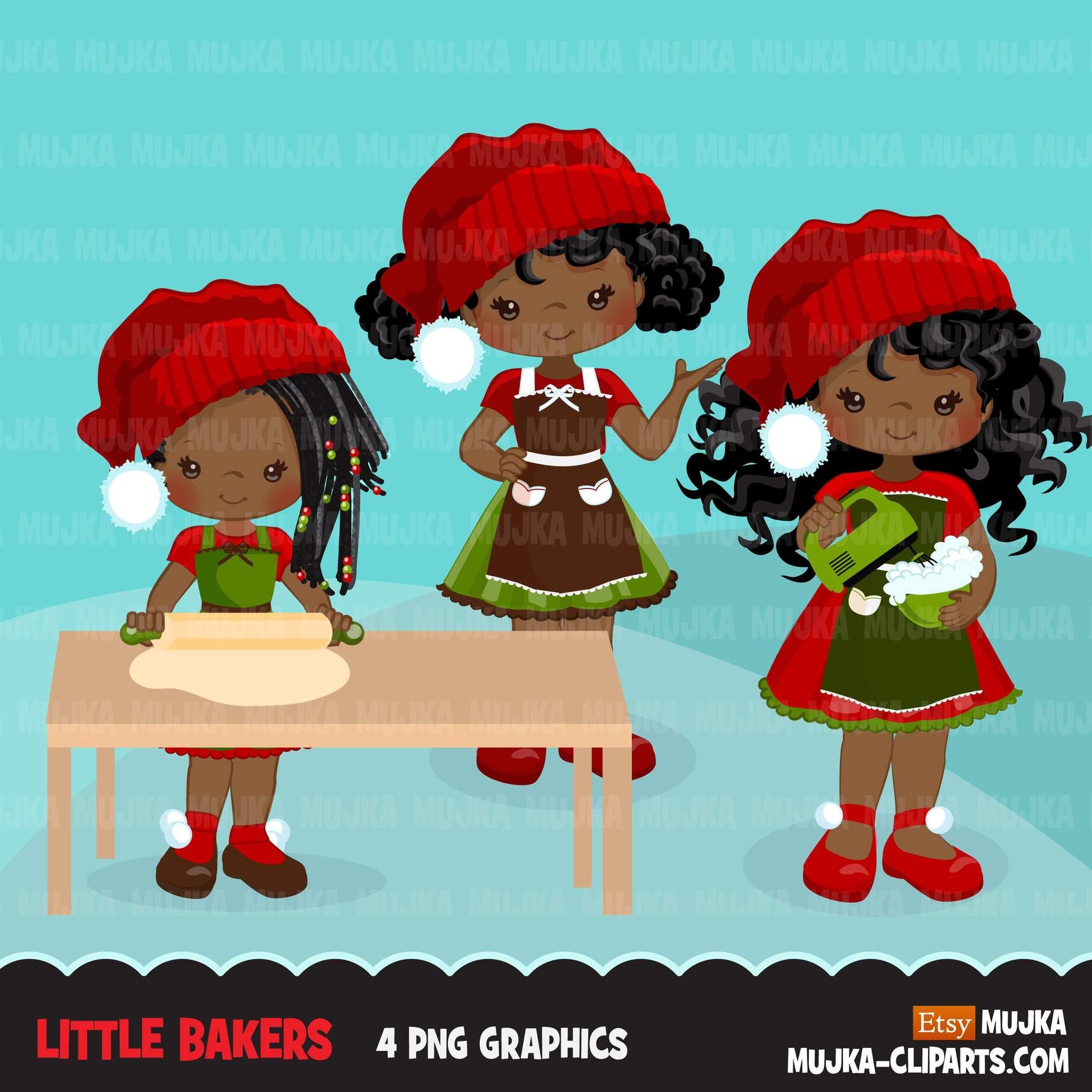 Christmas Baking Clipart, Cute black afro girl baker.