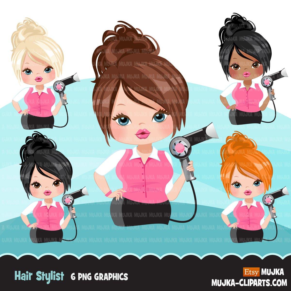 Hair stylist woman clipart avatar with hairdryer, print and cut, shop logo  boss hairdresser clip art graphics.