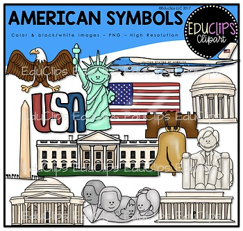 American Symbols Clip Art Bundle {Educlips Clipart}.