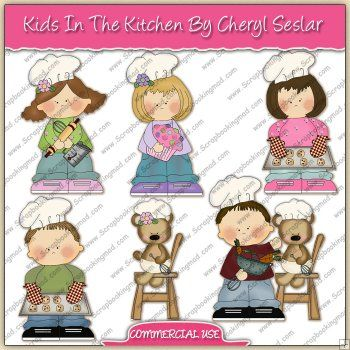Kids In The Kitchen ClipArt Graphic Collection.