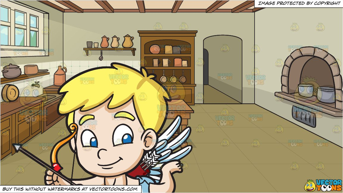 Cute Cupid Flying Around and A Castle Kitchen Background.
