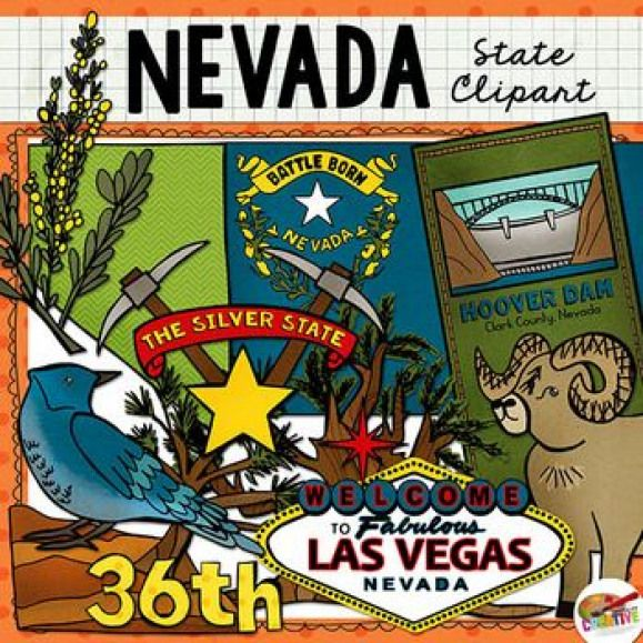 Nevada state clip art and line art includes 11 high quality.
