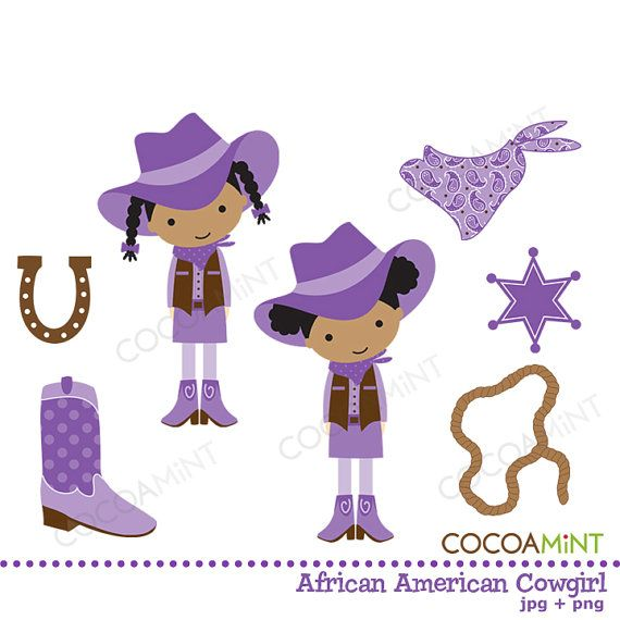African American Cowgirl Clip Art by cocoamint on Etsy.