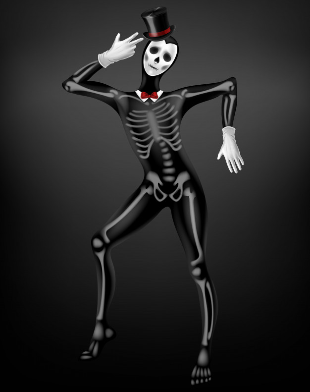 Mime in death or deceased tight suit with skeleton bones.