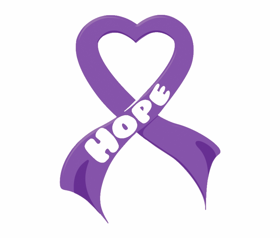 Hope To End Purple Heart Cancer Ribbon.