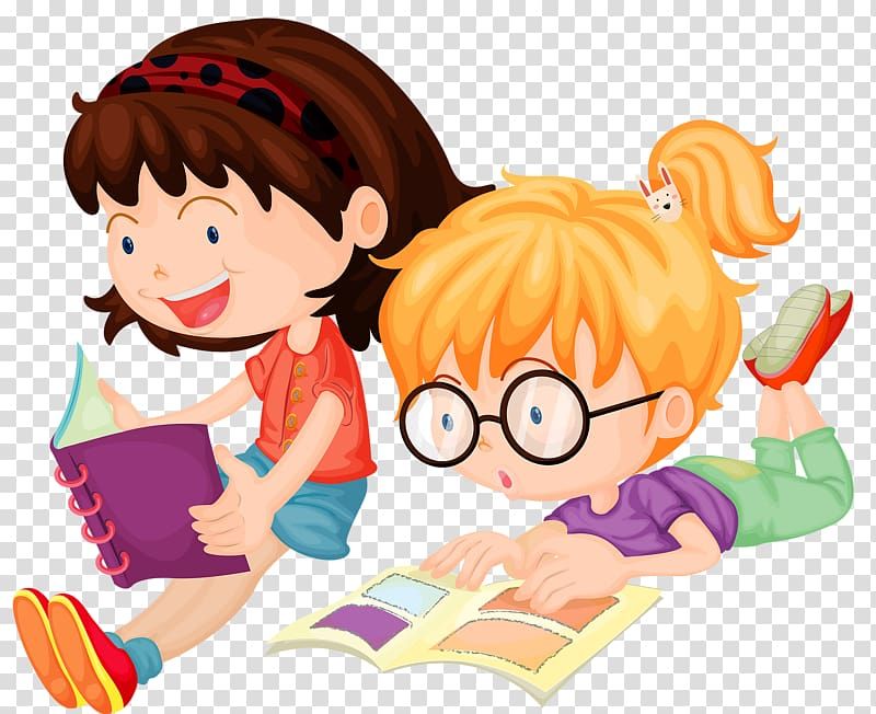 Two girls reading books illustration, Reading , Children.