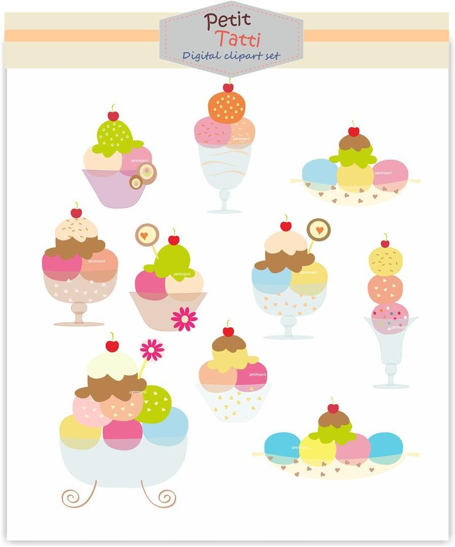 Digital clip art. for all use, soft ice cream, INSTANT.