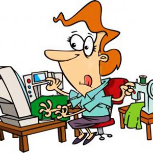 Hd Clip Art Of A Busy Woman At A Computer All Items Around.