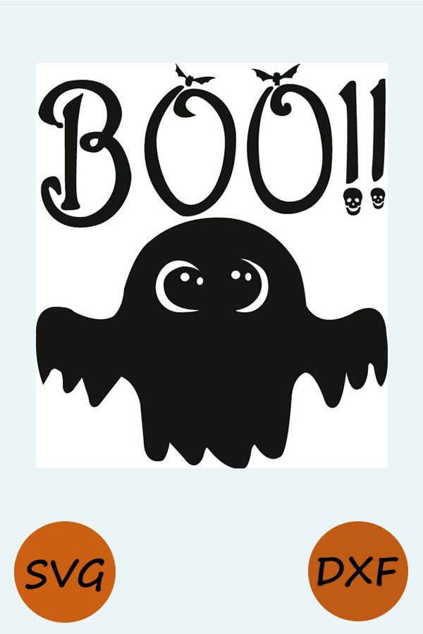 Halloween Boo SVG, EPS. Vector Clipart Digital Silhouette.
