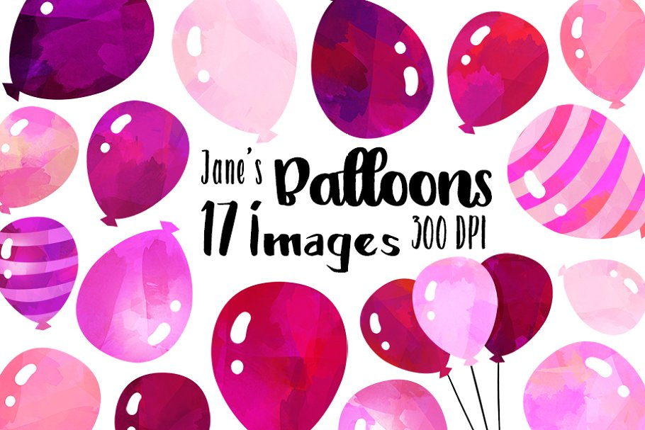 Pink Balloons Clipart.