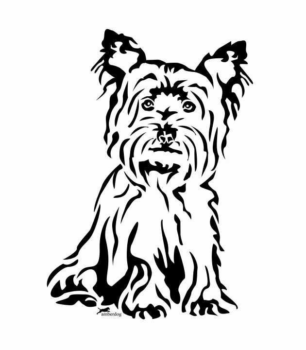 all cute yorkie silhouette with eyes clipart