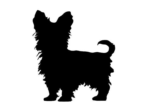 Yorkshire Terrier v4 Dog Breed Silhouette Custom Die Cut Vinyl.