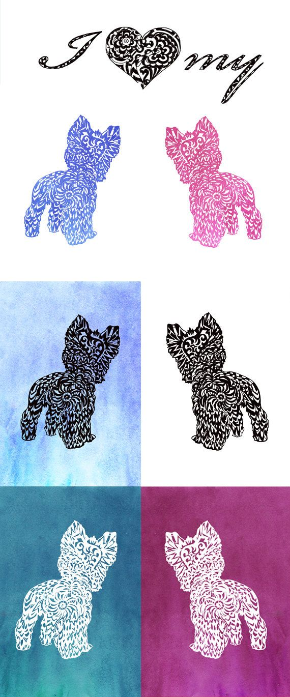 all cute yorkie silhouette with eyes clipart #16