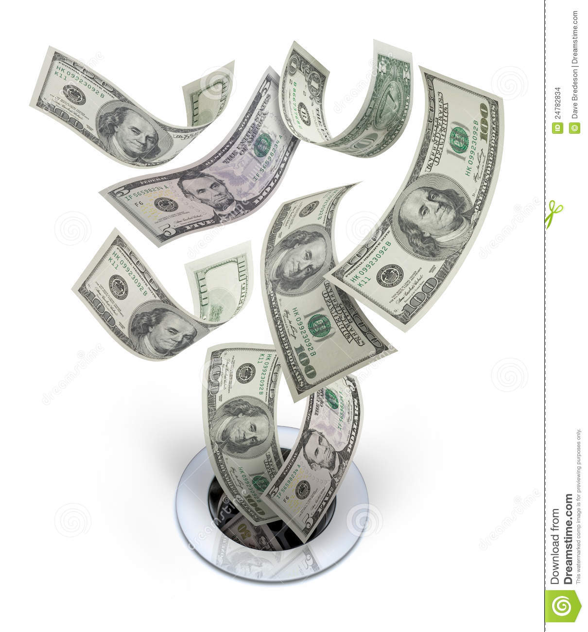 Money Down The Drain Waste Stock Images.